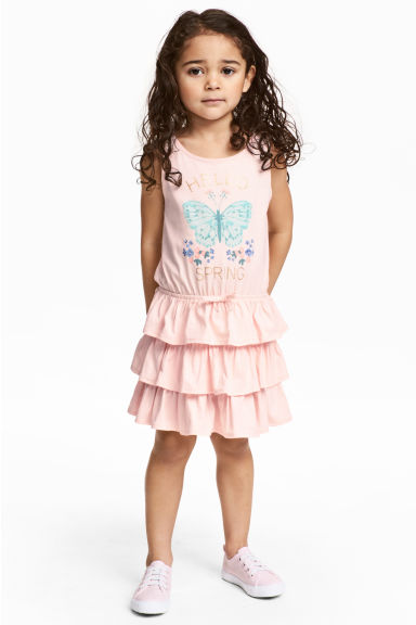 Jersey dress - Light pink/Butterfly - Kids | H&M