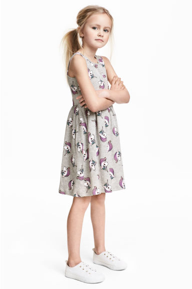 Patterned jersey dress - Grey/Unicorns - Kids | H&M CN 1
