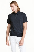 Polo shirt Slim Fit - Dark blue/Neps - Men | H&M 1