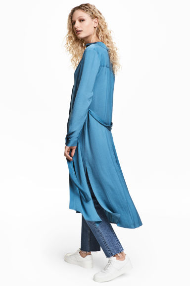 Satin shirt dress - Blue - Ladies | H&M CN 1