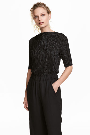 Pleated top - Black - Ladies | H&M 1