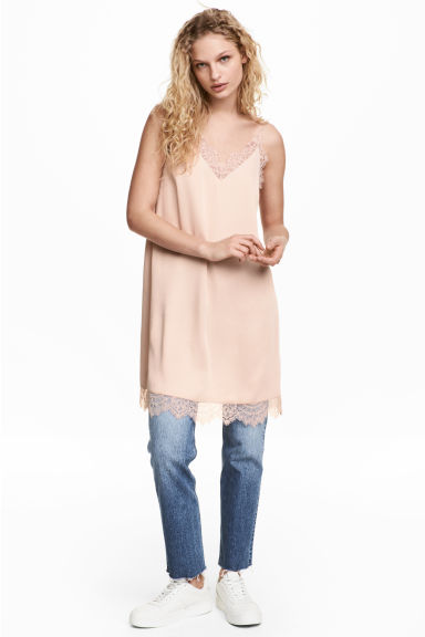 Slip dress with lace - Powder -  | H&M
