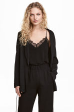 Jersey top with lace - Black - Ladies | H&M CN 2