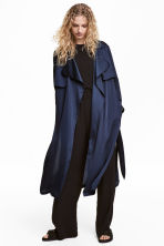Satin trenchcoat - Dark blue - Ladies | H&M GB 1