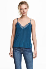 Jersey top with lace - Dark blue - Ladies | H&M 1