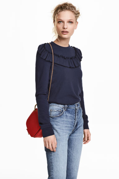 Sweatshirt with a frill - Dark blue - Ladies | H&M 1