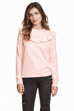 Sweatshirt with a frill - Powder pink - Ladies | H&M 1