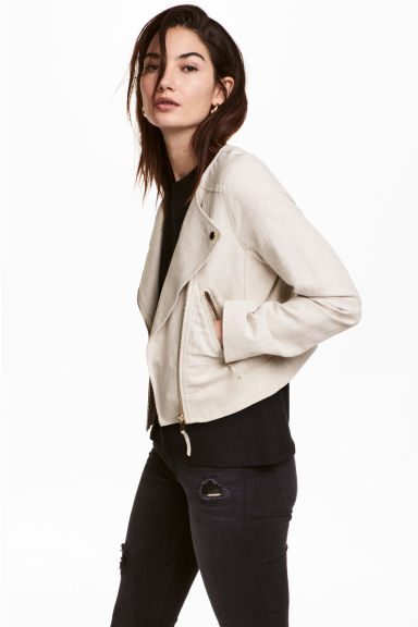 Linen-blend biker jacket - Natural white - Ladies | H&M CN 1