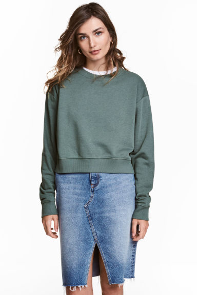 Short sweatshirt - Dark green - Ladies | H&M 1