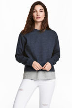 Short sweatshirt - Dark blue marl - Ladies | H&M CN 1