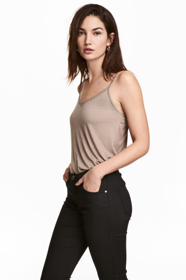 Strappy top with lace detail - Light mole - Ladies | H&M 1