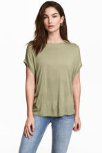 Fine-knit top - Light khaki green -  | H&M 1