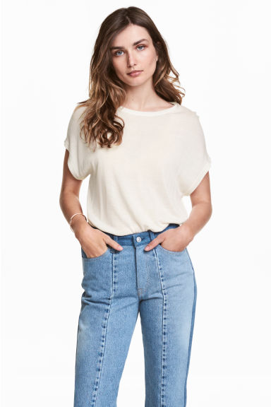 Fine-knit top - Natural white - Ladies | H&M 1