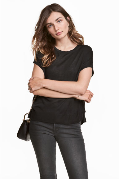 Fine-knit top - Dark grey - Ladies | H&M 1