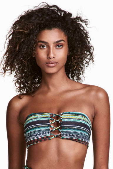 Bandeau bikini top - Green/Patterned - Ladies | H&M 1