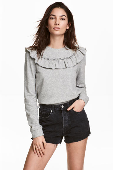 荷葉邊運動衫 - Grey marl - Ladies | H&M