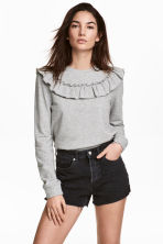 Sweatshirt with a frill - Grey marl - Ladies | H&M 1