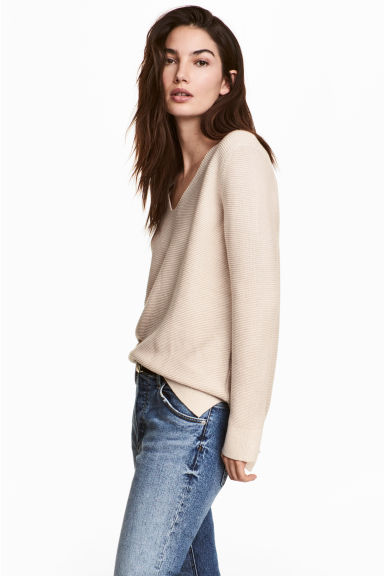 Garter-stitched jumper - Light beige - Ladies | H&M CN 1