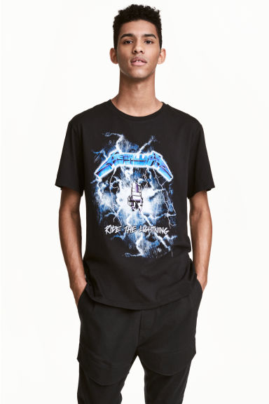 Printed T-shirt - Black/Metallica - Men | H&M 1