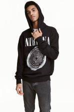 Hooded top with a motif - Black/Nirvana - Men | H&M CN 1