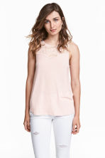 Sleeveless top with lace - Powder pink - Ladies | H&M 1