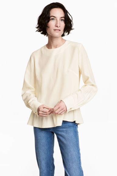 Silk blouse - Natural white - Ladies | H&M 1
