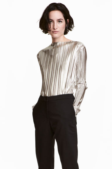 Pleated top - Silver -  | H&M CN 1
