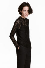 Long-sleeved lace top - Black - Ladies | H&M CA 1