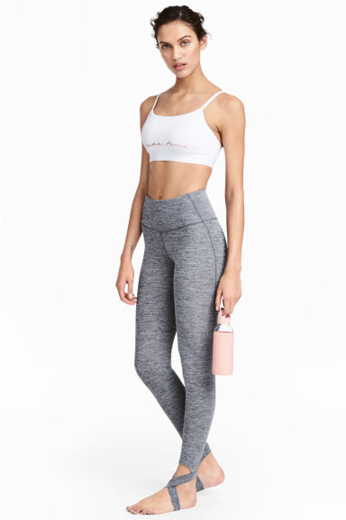 Yoga tights with foot straps - Grey marl - Ladies | H&M 1