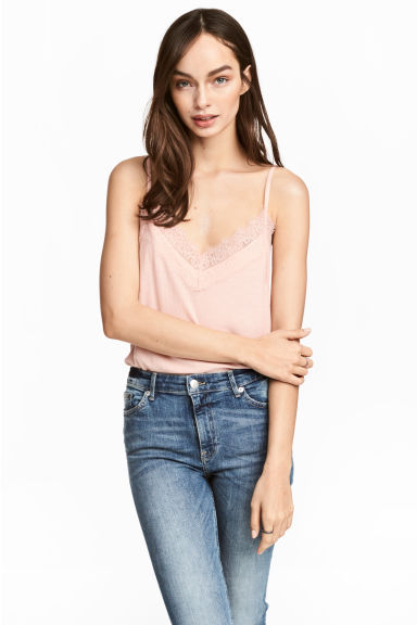 Ribbed strappy top - Powder pink - Ladies | H&M CA