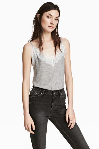 Ribbed strappy top - Grey marl - Ladies | H&M CN 1
