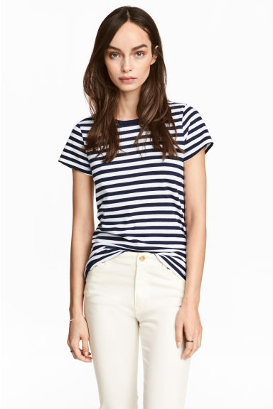 Short-sleeved top - Dark blue/Striped - Ladies | H&M CN 1