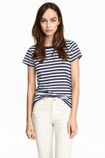 Short-sleeved top - Dark blue/Striped - Ladies | H&M 1