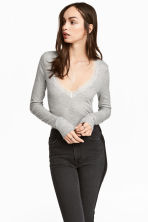 Ribbed jersey top - Grey marl - Ladies | H&M 1