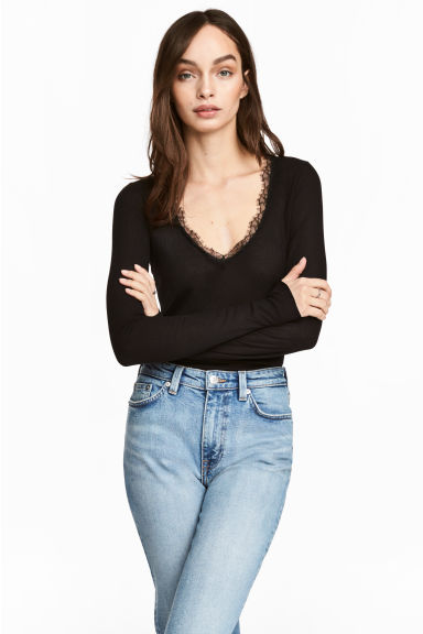 Ribbed jersey top - Black - Ladies | H&M CN 1