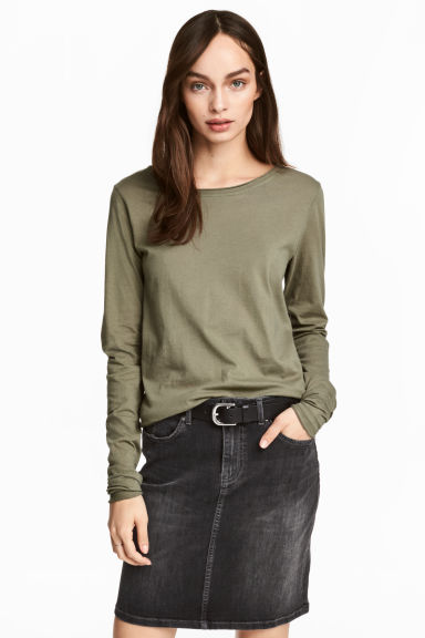 Long-sleeved top - Khaki green - Ladies | H&M CN 1