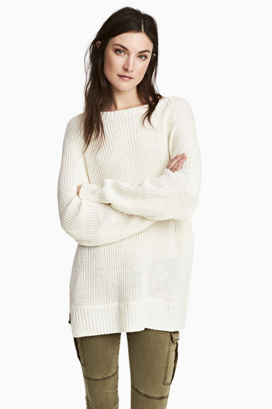 Knitted jumper - White - Ladies | H&M CN 1