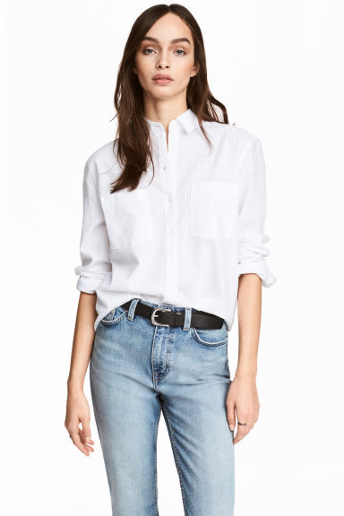 Linen-blend shirt - White - Ladies | H&M