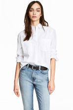 Linen-blend shirt - White - Ladies | H&M 1