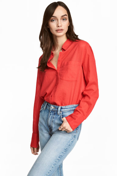 Cotton shirt - Red/Striped - Ladies | H&M 1