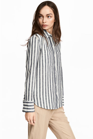 Linen-blend shirt - Dark blue/Striped - Ladies | H&M GB 1