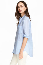 Cotton shirt - Light blue/Striped - Ladies | H&M CN 1