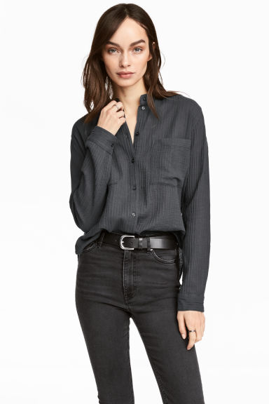 Cotton shirt - Dark grey - Ladies | H&M 1