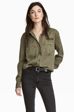 Camicia casual in lyocell - Verde kaki - DONNA | H&M IT 1