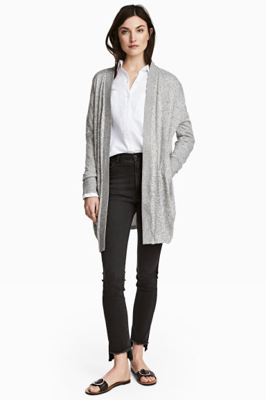 Fine-knit cardigan - Grey marl - Ladies | H&M 1