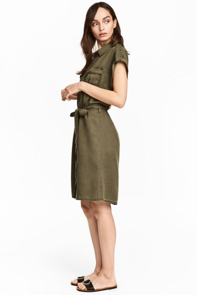 Lyocell shirt dress - Khaki green - Ladies | H&M 1