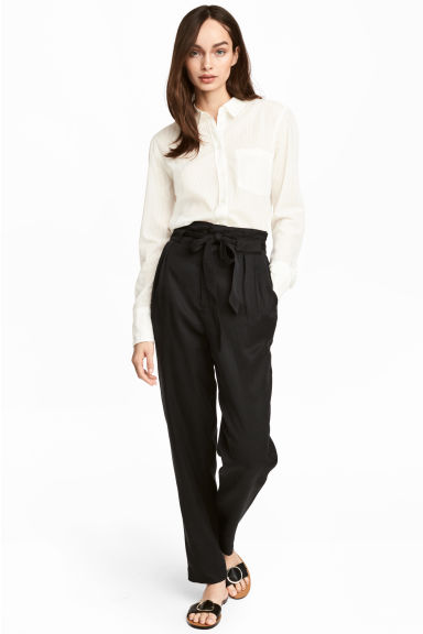 Lyocell trousers - Black - Ladies | H&M CN 1