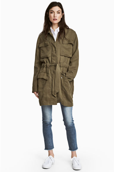 Lyocell cargo jacket - Khaki green - Ladies | H&M 1