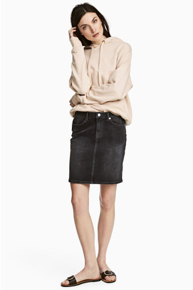 Denim skirt - Black denim - Ladies | H&M CN 1