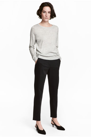 Lyocell blend chinos - Black - Ladies | H&M CN 1